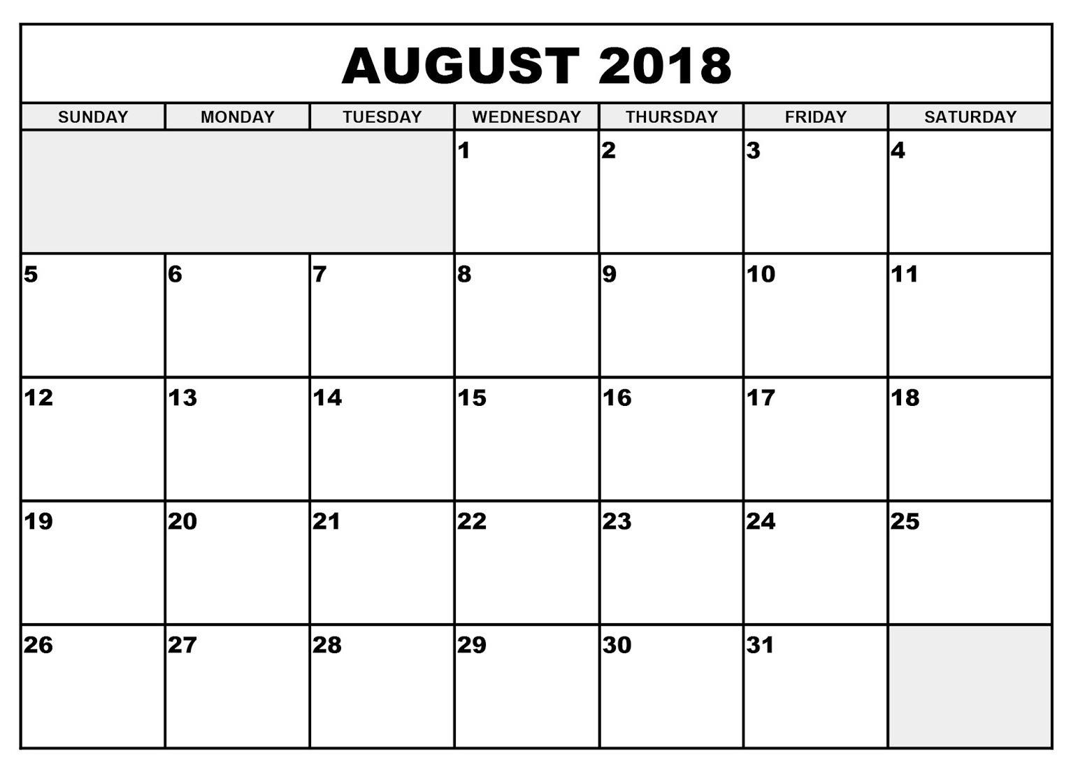 free printable august 2018 calendar calendar printable with Calendar August 2018 Printable Free erdferdf