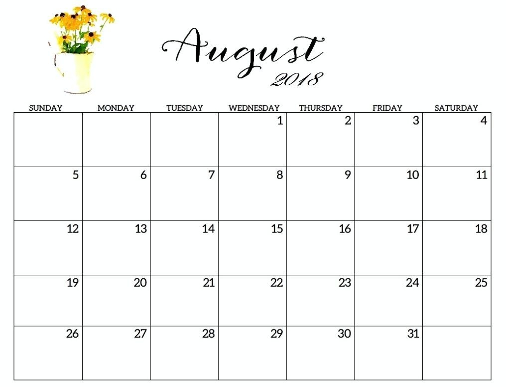 free printable august 2018 calendar excel printable calendar 2018 Free Pretty Printable Calendars August 2018 erdferdf