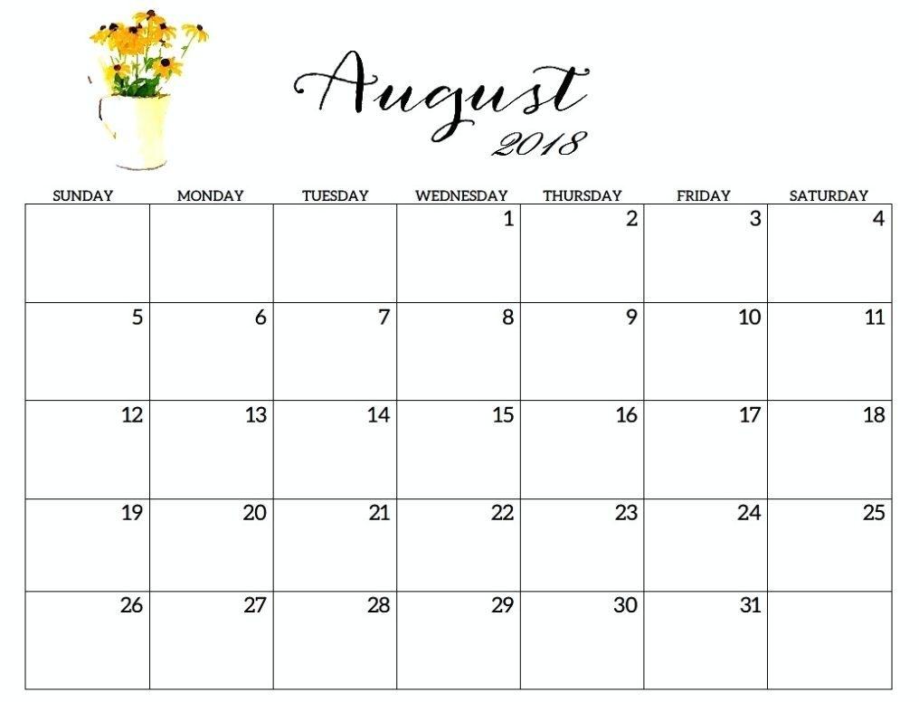 free printable august 2018 calendar excel printable calendar 2018 Free Pretty Printable Calendars August 2018 erdferdf