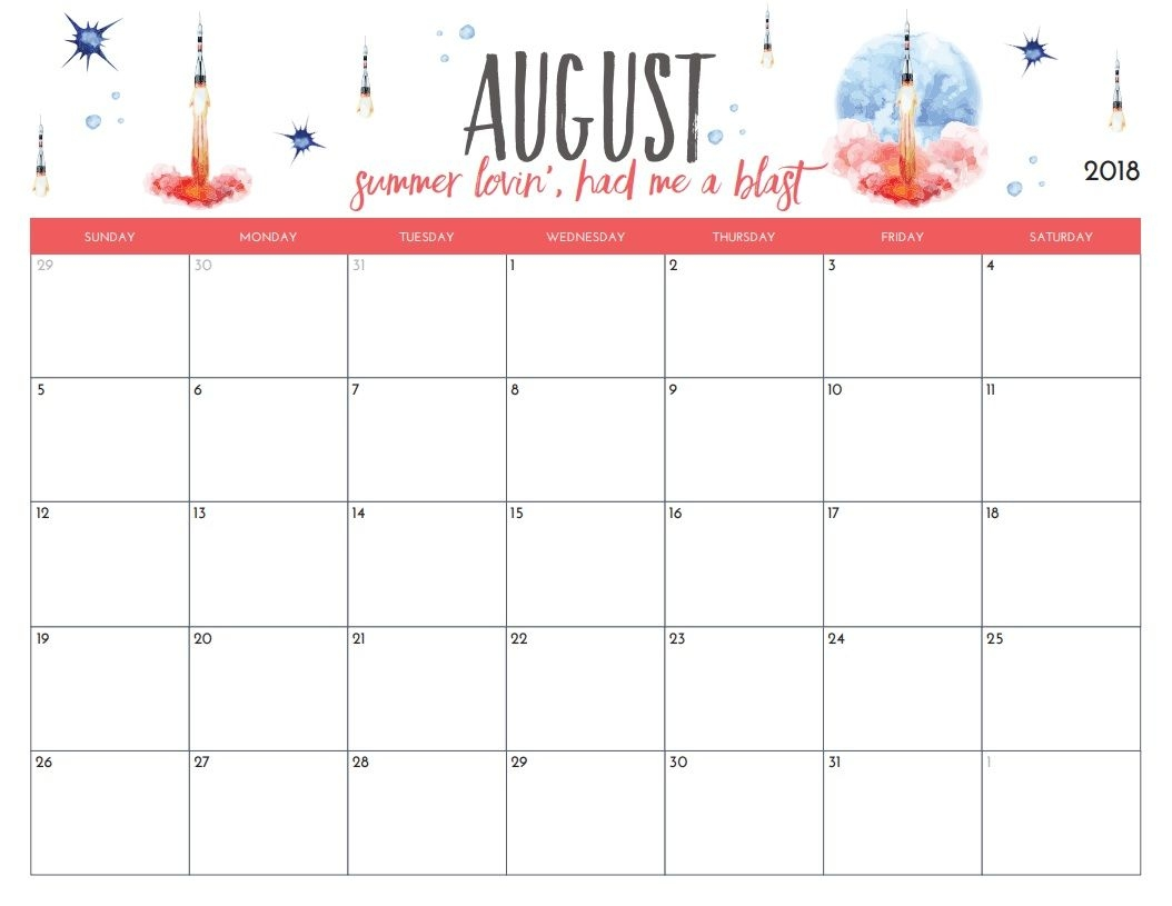 free printable august 2018 monthly calendar organization 2 Printable Monthly Calendar For Aug 2018 erdferdf