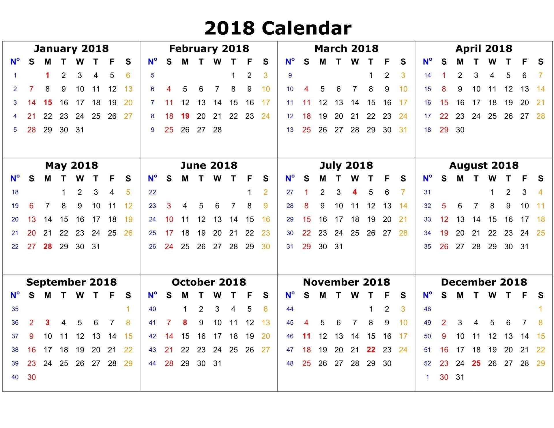 free printable calendar 2018 free printable calendar printable 12 Month 2018 Printable Calendar erdferdf