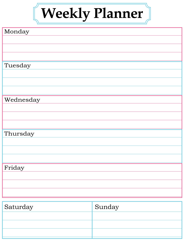 free printable weekly calendar  Free Printable Weekly Calendar Pdf  erdferdf