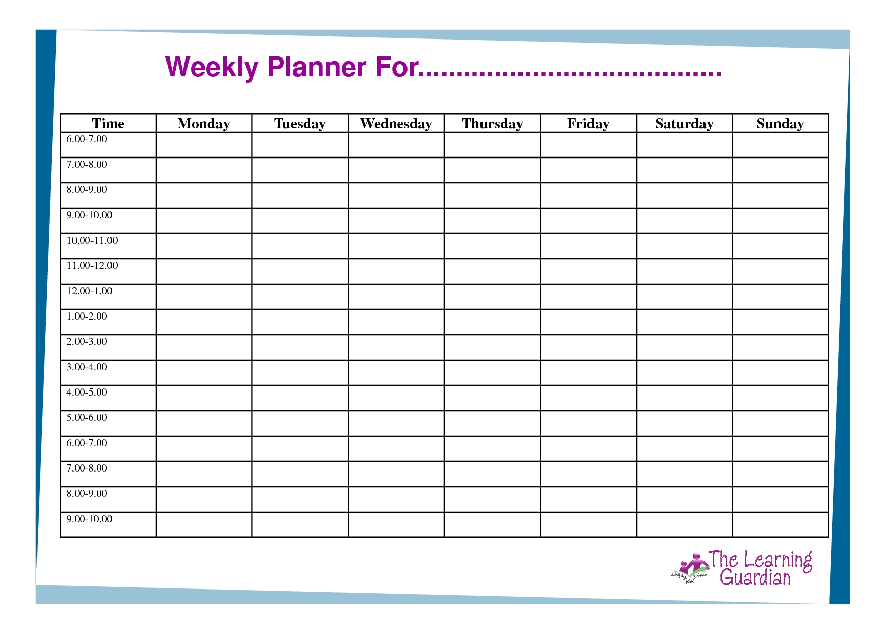 free printable weekly calendar templates weekly planner for time Free Printable Weekly Calendar Pdf  erdferdf