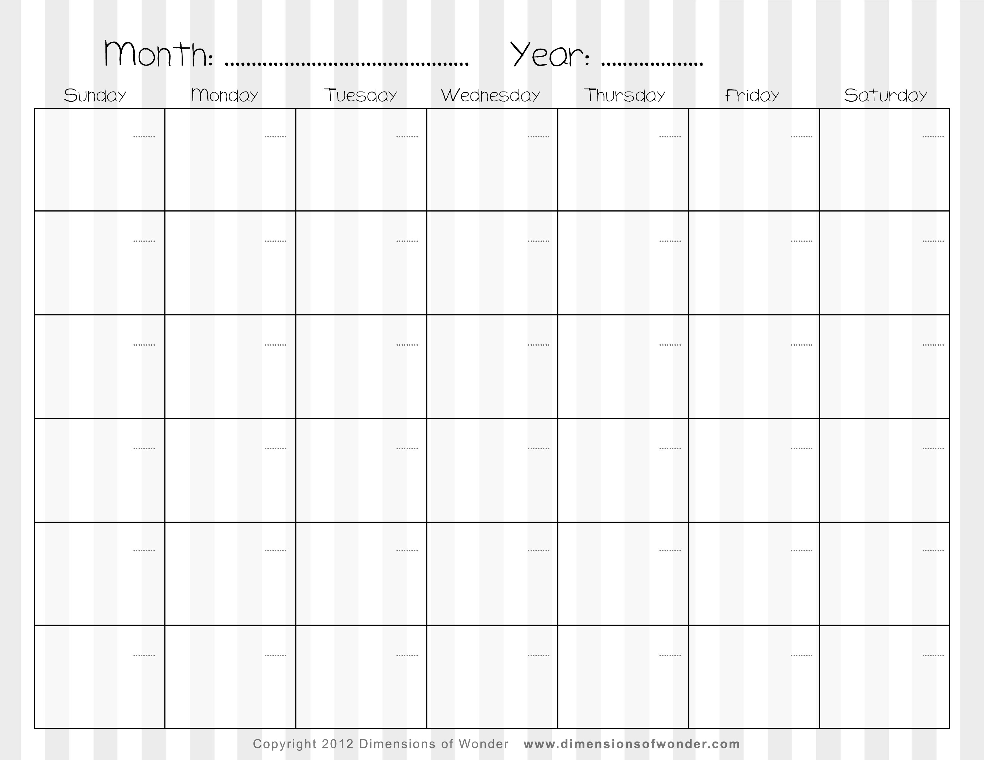 free weekly calendar template Free Printable Monthly Calendar With Lines erdferdf