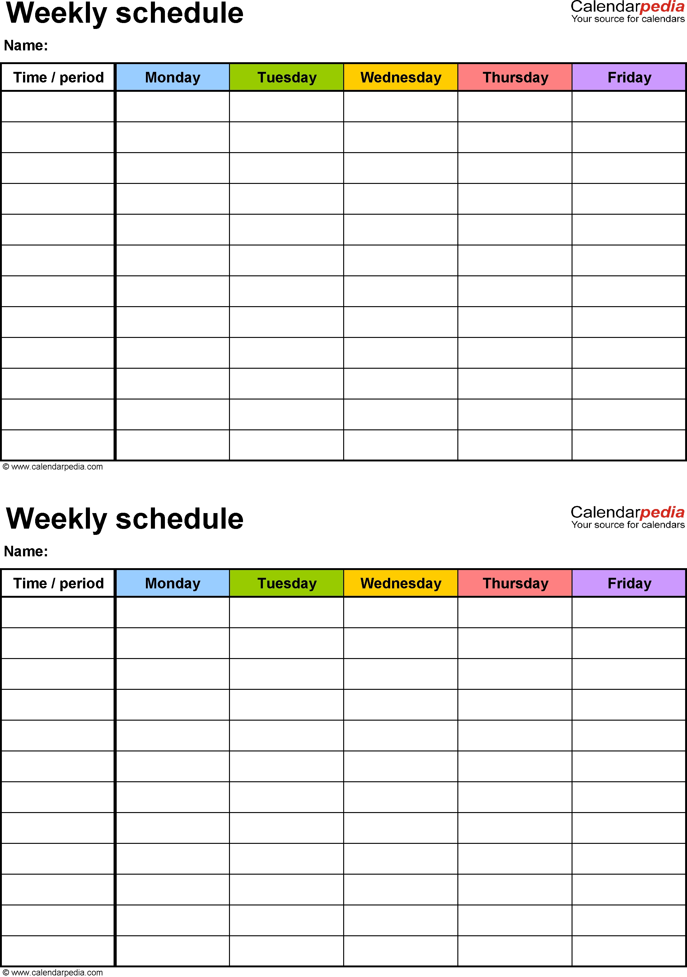 free weekly schedule templates for excel 18 templates Printable Weekly Calendar With 15 Minute Time Slots erdferdf