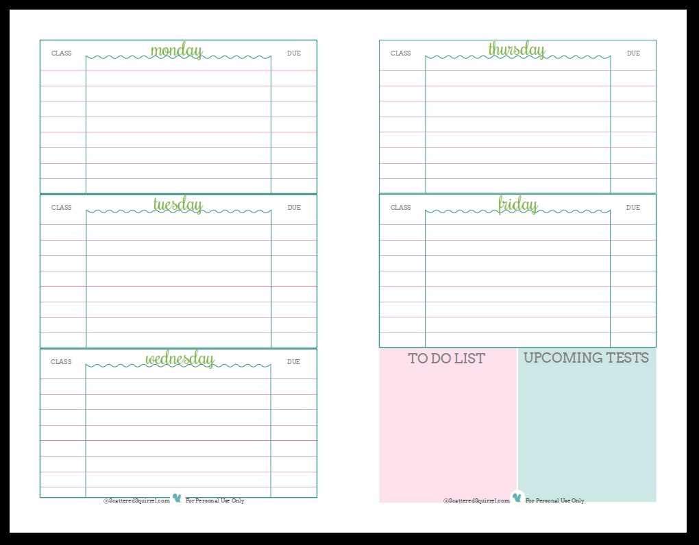 getting ready for back to school student planner printables Cute Printable Daily Planner 2018 erdferdf