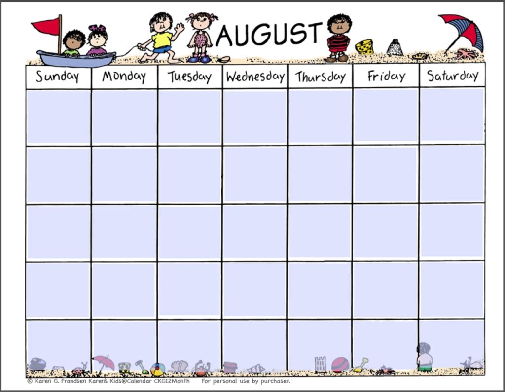 kids august 2018 printable calendar printable monthly calendar Blank Calendar Of August 2018 Full Page erdferdf