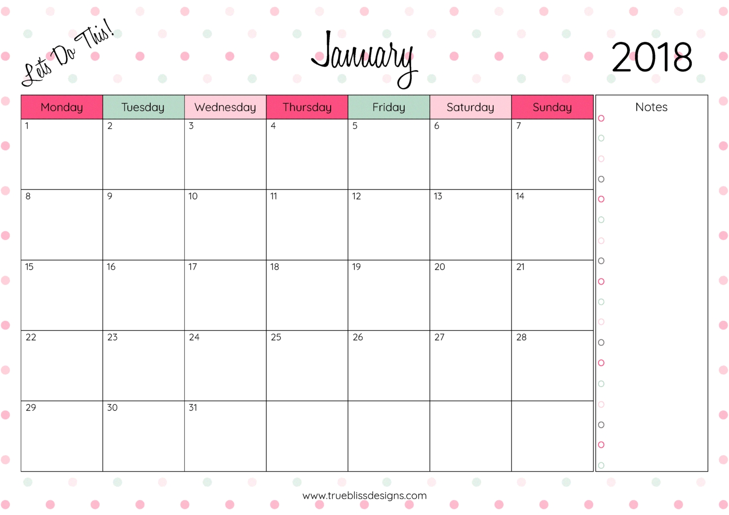 month calendar 2018  Tumblr Calendar 2018 By Month Printables erdferdf