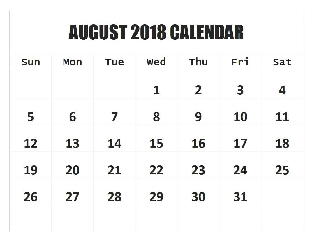 monthly august 2018 printable calendar daily calendar 2018 Agust Month Printable Calendars 2018 erdferdf