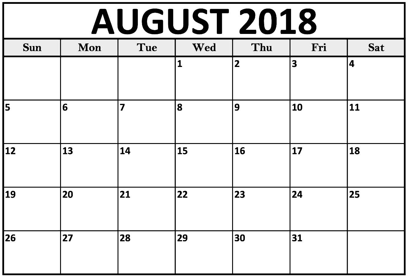 monthly calendar august 2018 printable template Printable Monthly Calendar For Aug 2018 erdferdf