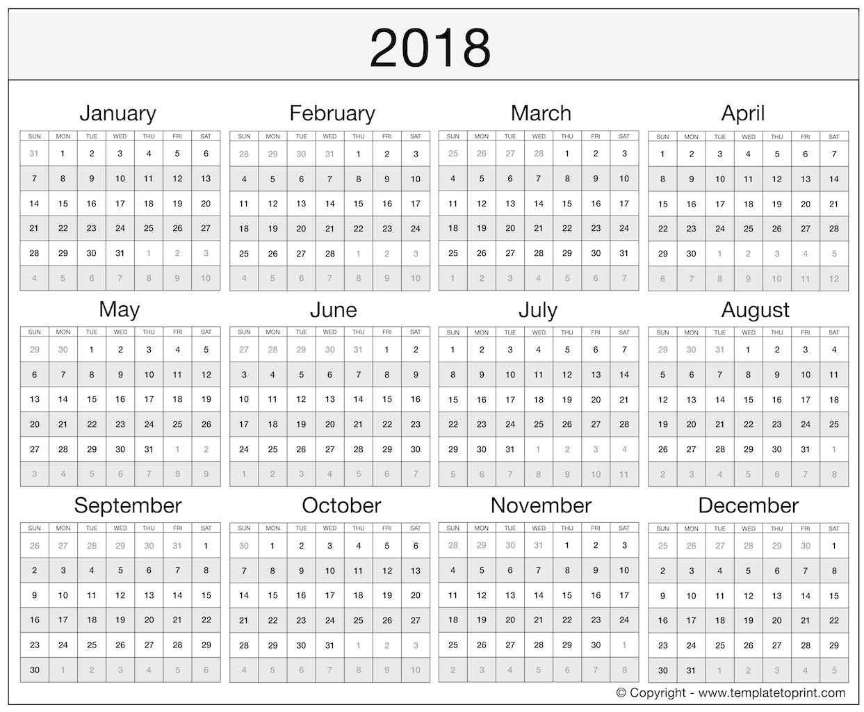 monthly calendar template excel 2018 2018 Yearly Calendar Excel Template erdferdf