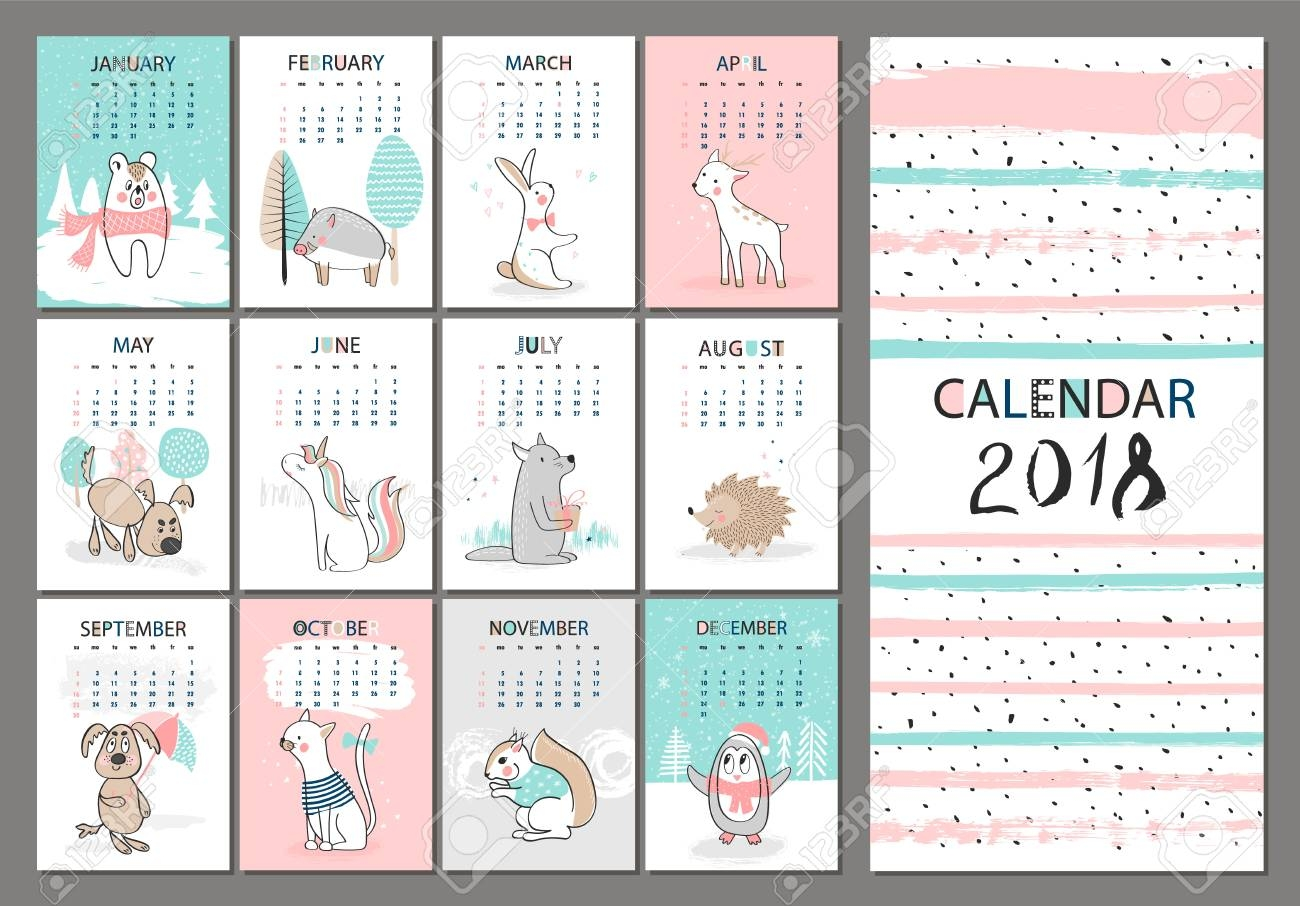 monthly creative calendar 2018 with cute animals concept vector 2018 Printable Calendar Pretty By Year erdferdf