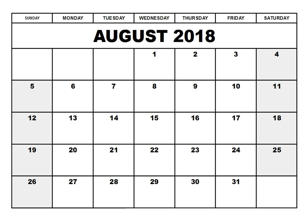 Calendar August 2018 Printable Worksheets