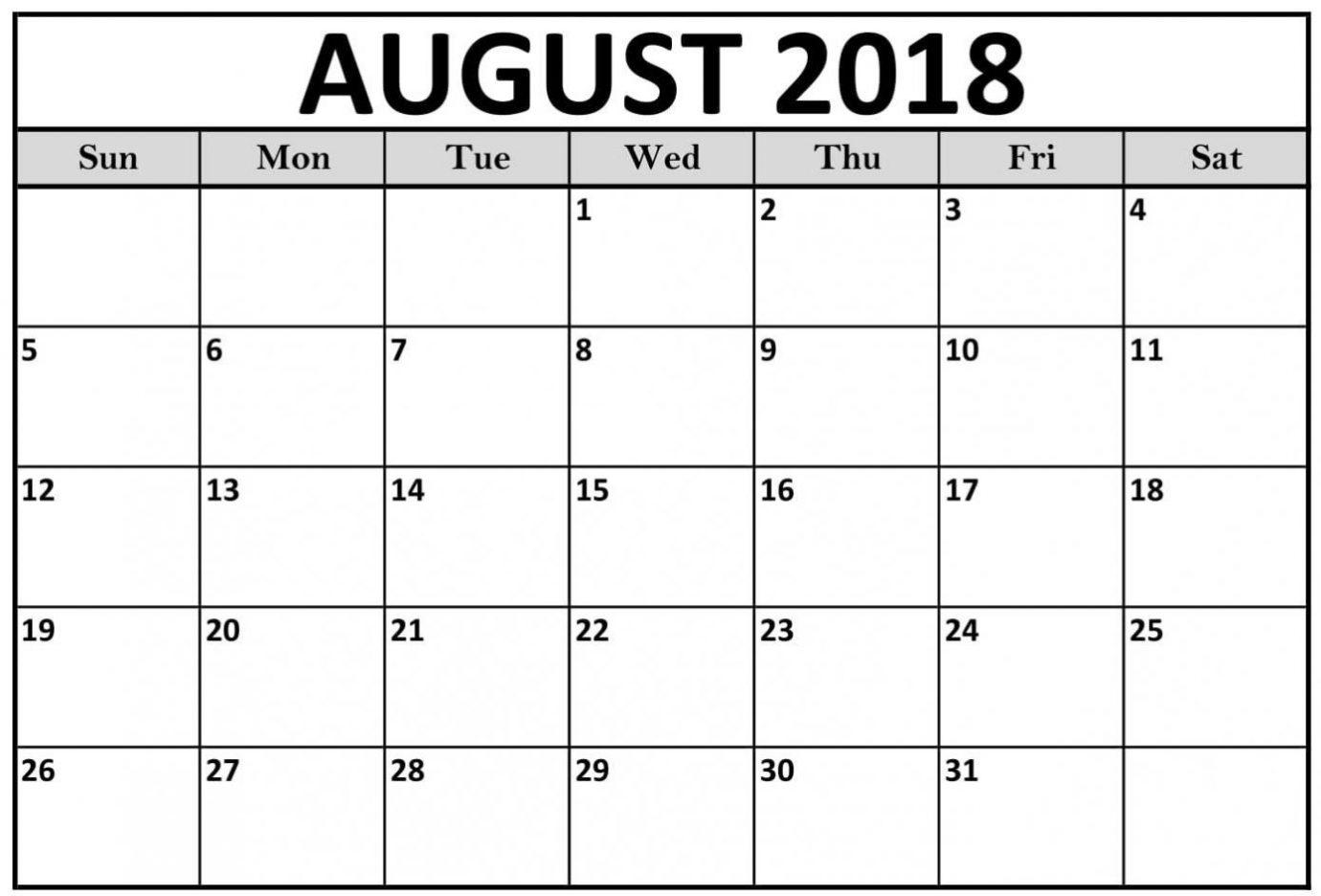 online blank calendar august 2018 printable 2018 calendar Blank Calendar Of August 2018 Full Page erdferdf