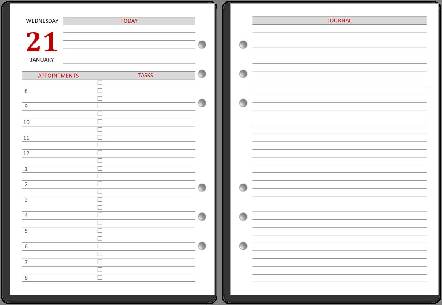 philofaxy inserts for 2018 Free Day To Day Calendar erdferdf