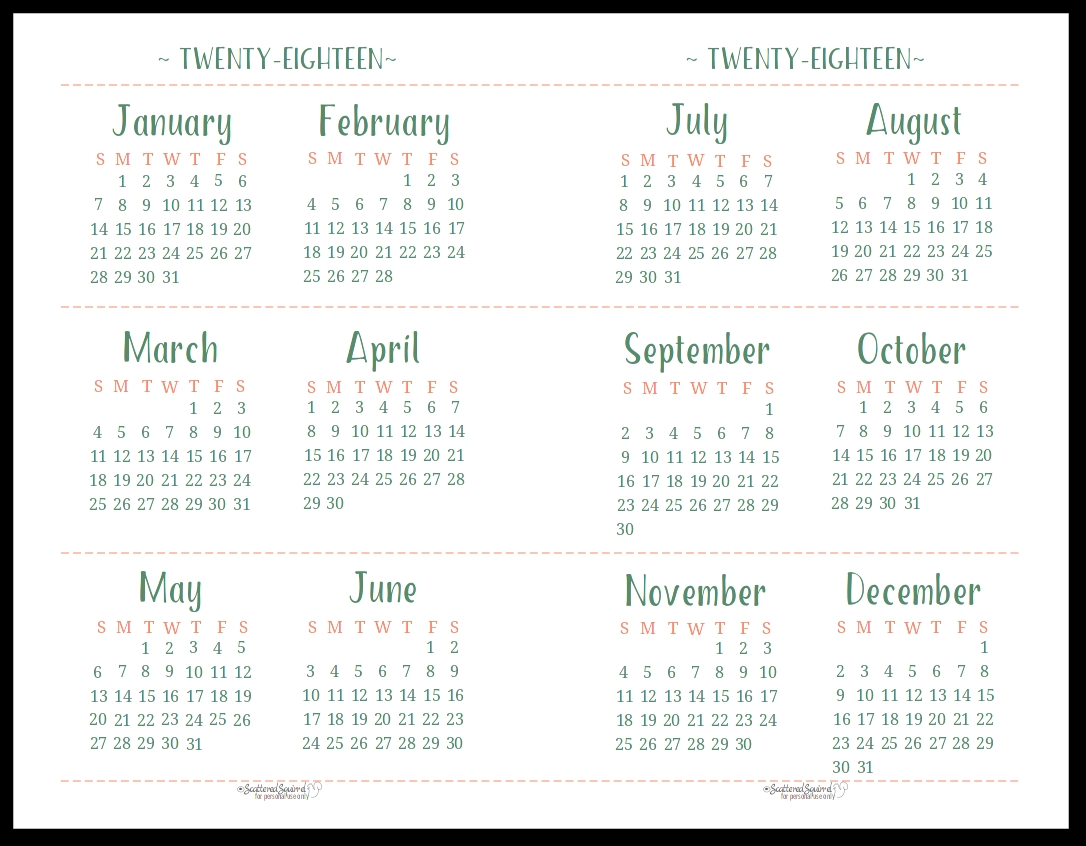 Free Printable Pocket Calendar Template 2018