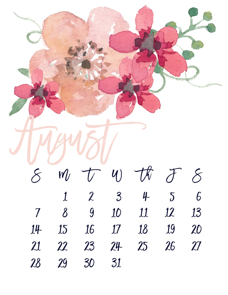 printable 2018 floral calendar  Free Pretty Printable Calendars August 2018 erdferdf