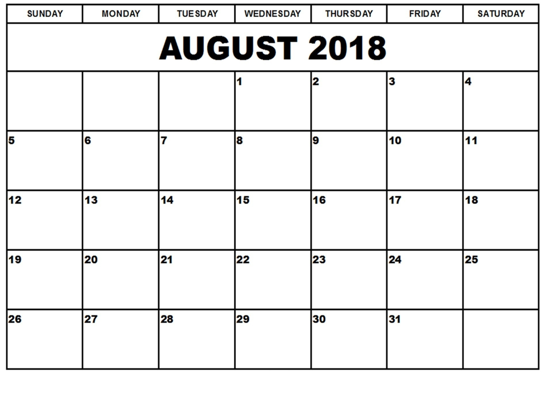 printable august 2018 blank calendar day printable calendar Calendar August 2018 Printable Worksheets erdferdf