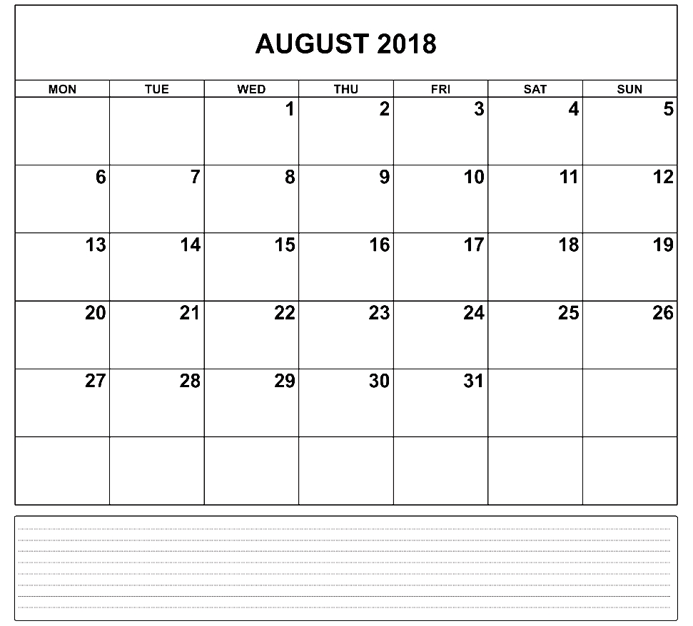 printable august 2018 calendar monthly template Calendar August 2018 Printable Worksheets erdferdf