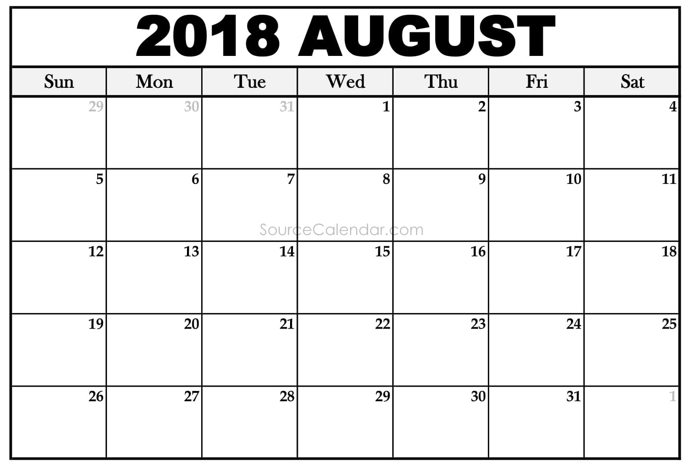 printable august 2018 calendar template pdf download with holidays usa Calendar August 2018 Printable Uk erdferdf