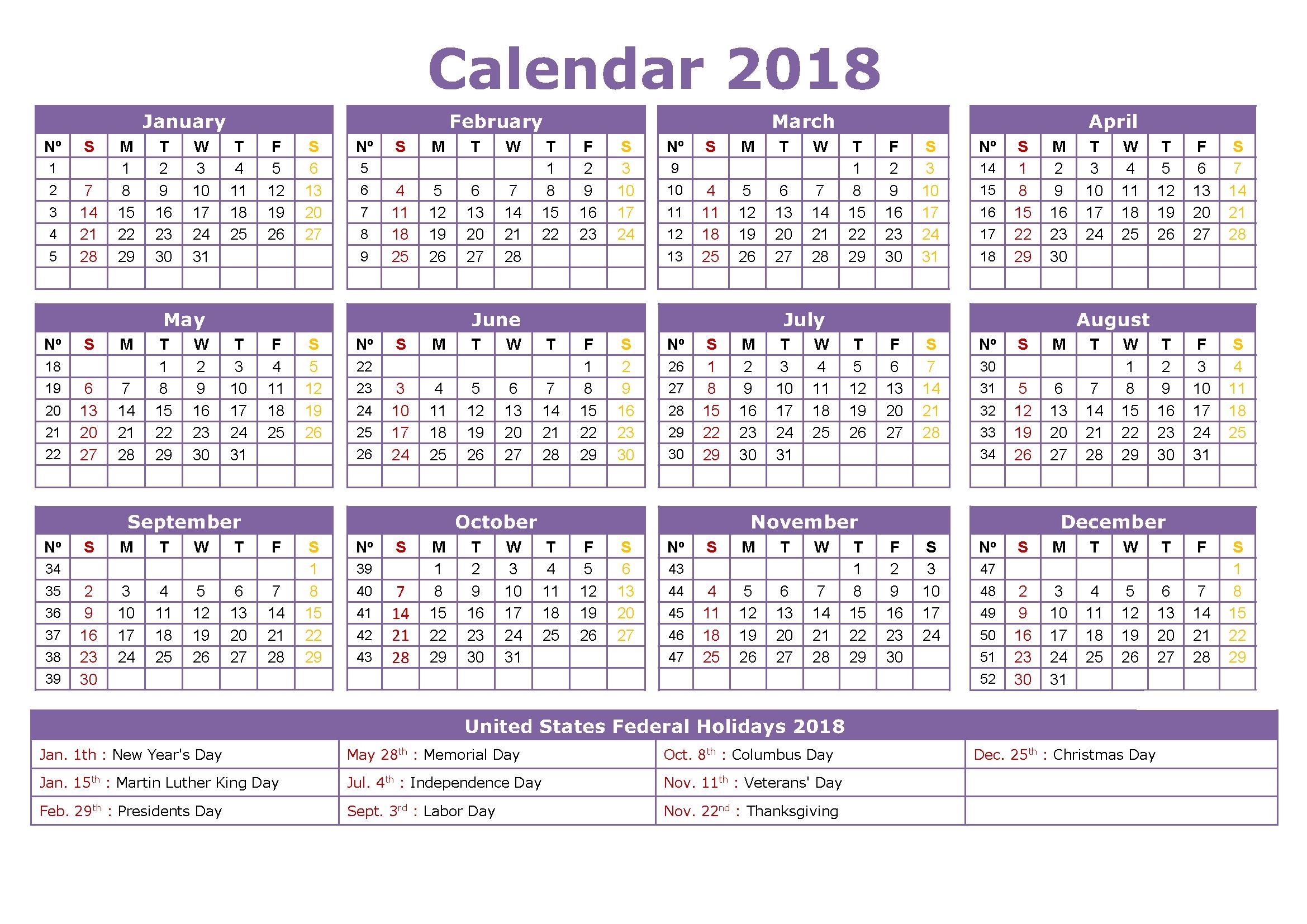printable calendar 2018 usa holidays list for bank and school 2018 Calendar With Holidays Usa Printable erdferdf