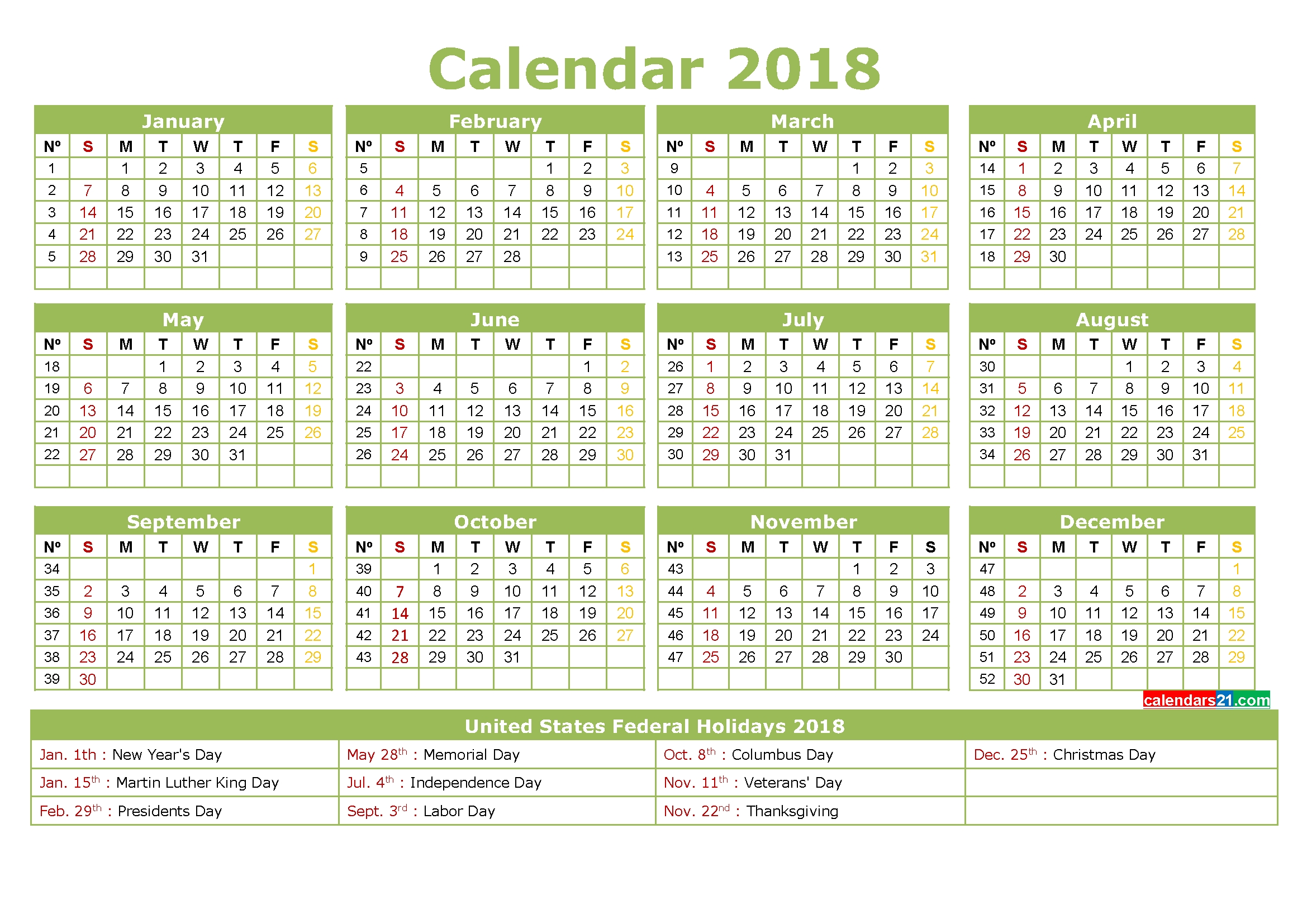 2018 Calendar With Holidays Usa Printable