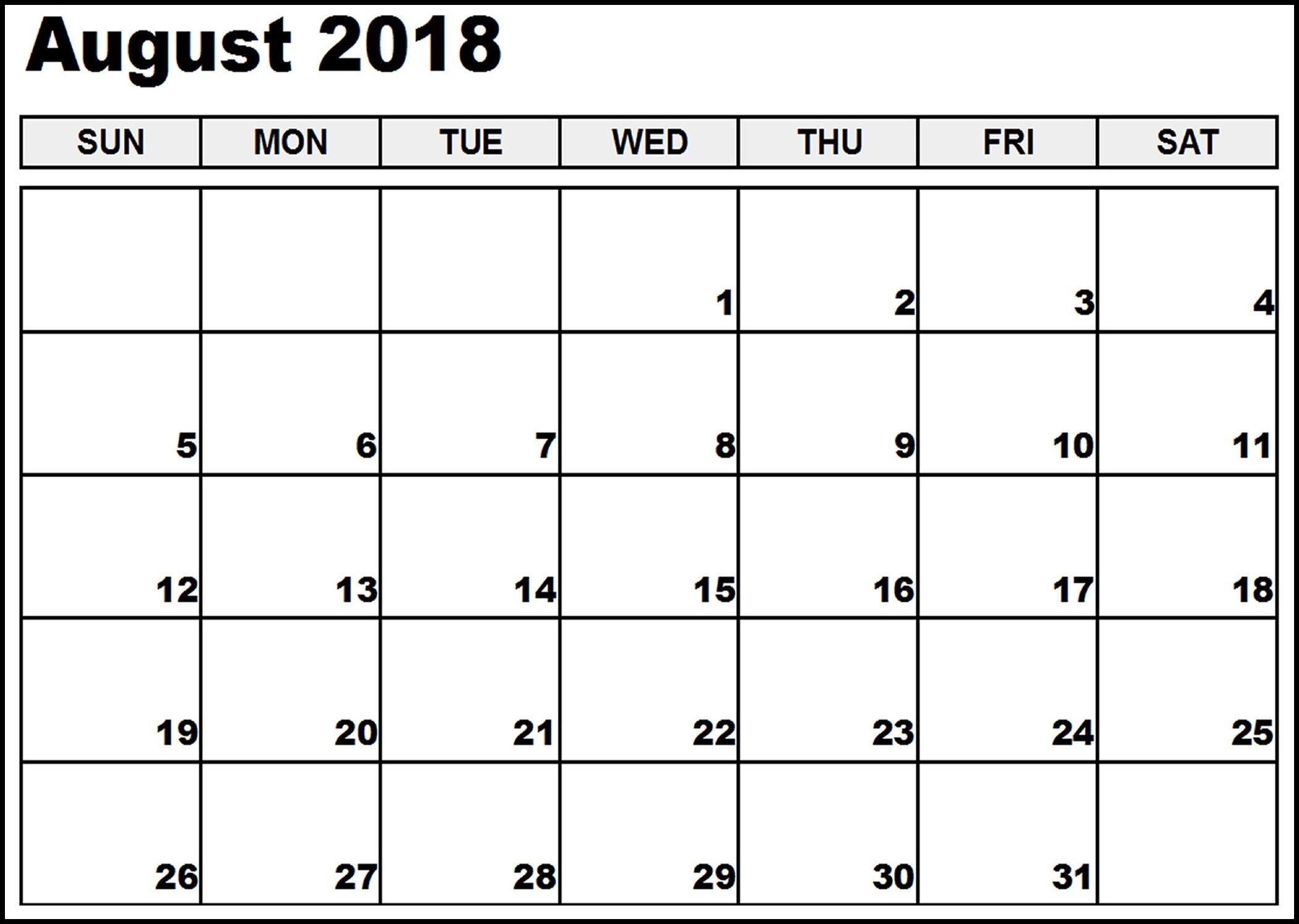 printable calendar august 2018 free calendar templates Calendar August 2018 Printable Free erdferdf