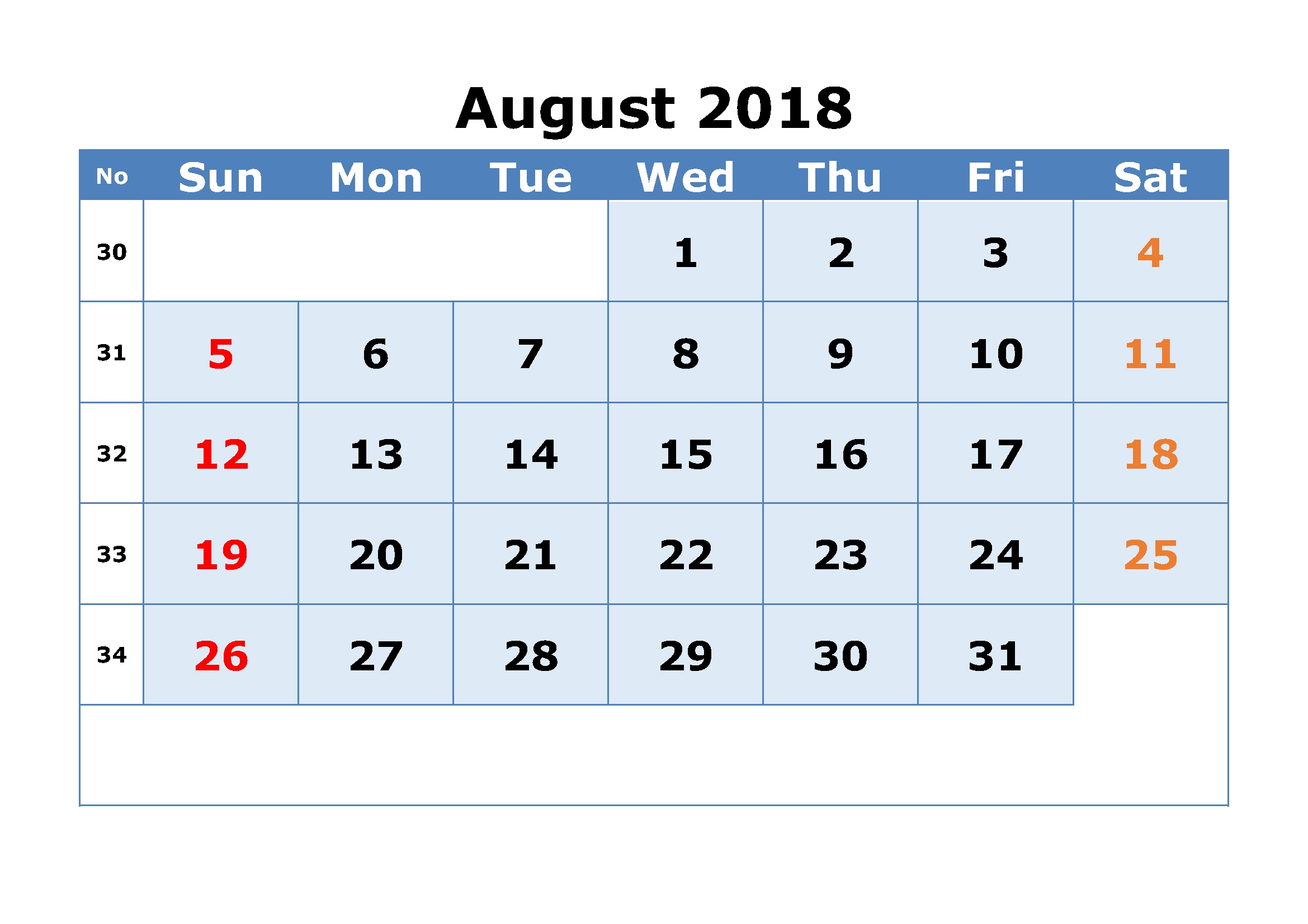 printable calendar august 2018 free printable calendar template Calendar August 2018 Printable Free erdferdf