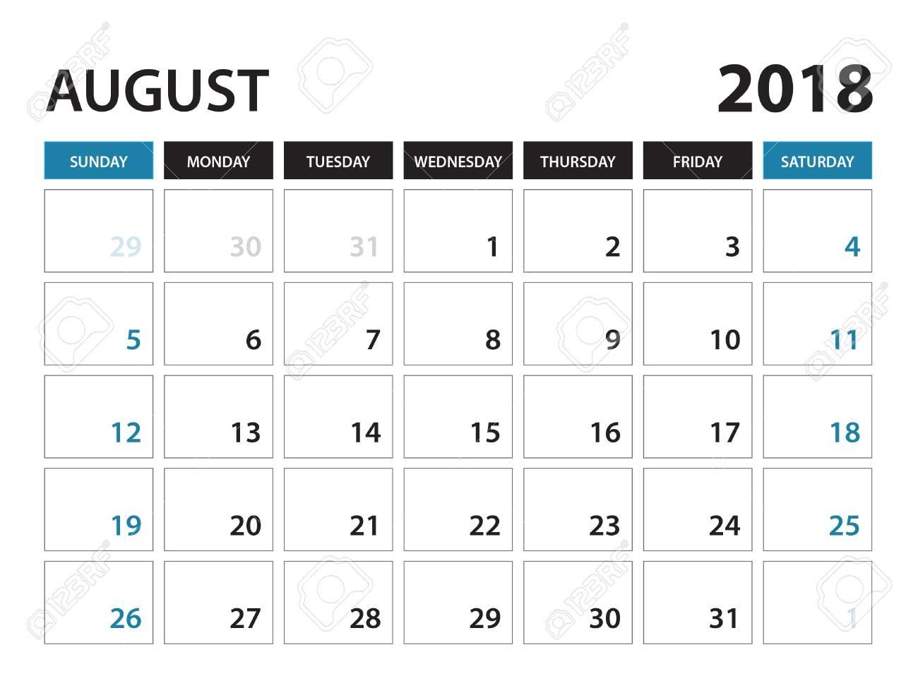 printable calendar for august 2018 planner design template Calendar August 2018 Printable Template erdferdf
