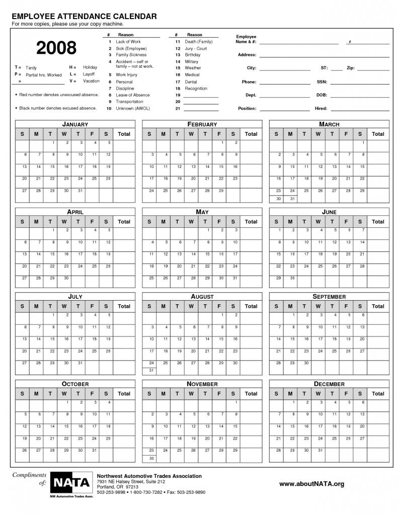 printable employee attendance calendar printable calendar Free Employee Attendance Calendar 2018  erdferdf
