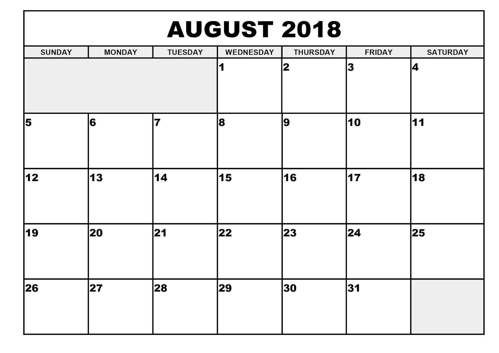 printable month calendar calendar pro Printable Monthly Calendar For Aug 2018 erdferdf