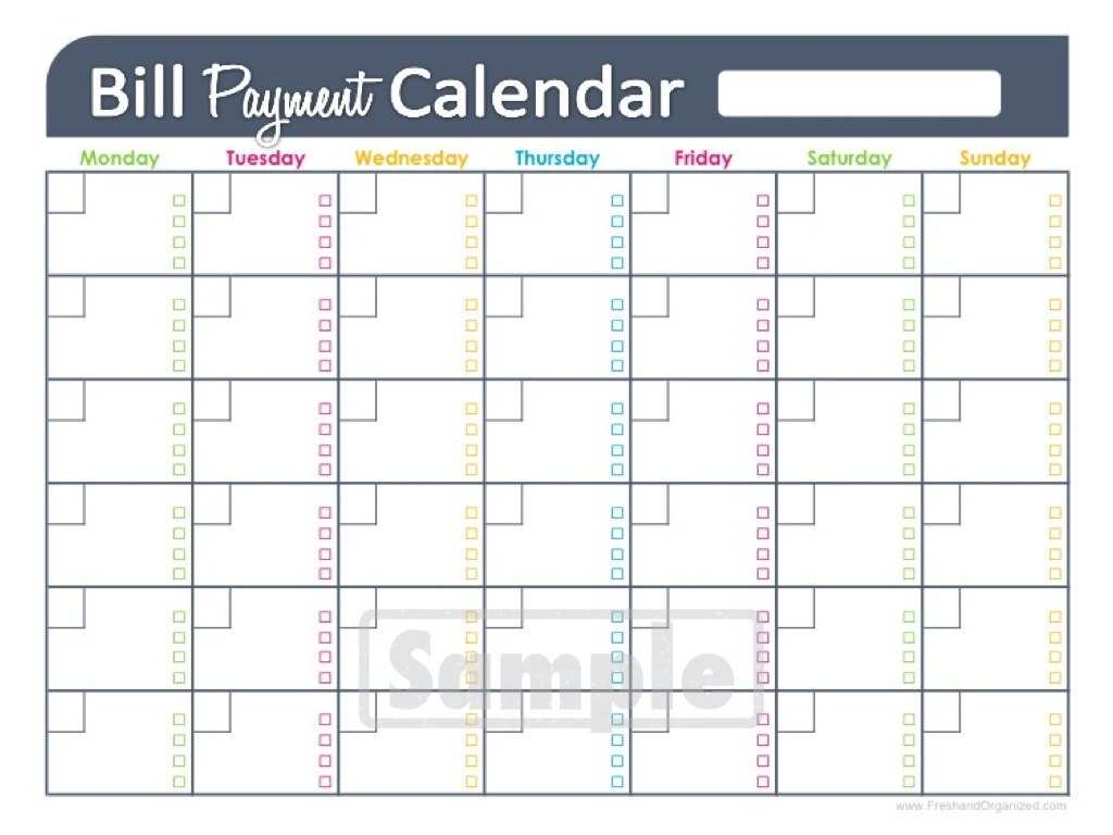 printable monthly bill calendar printable calendar templates 2018   Monthly Bill Calendar For A Year erdferdf