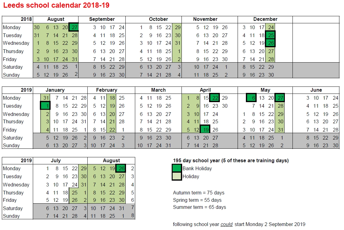 Government Calendar With Holidays 2018