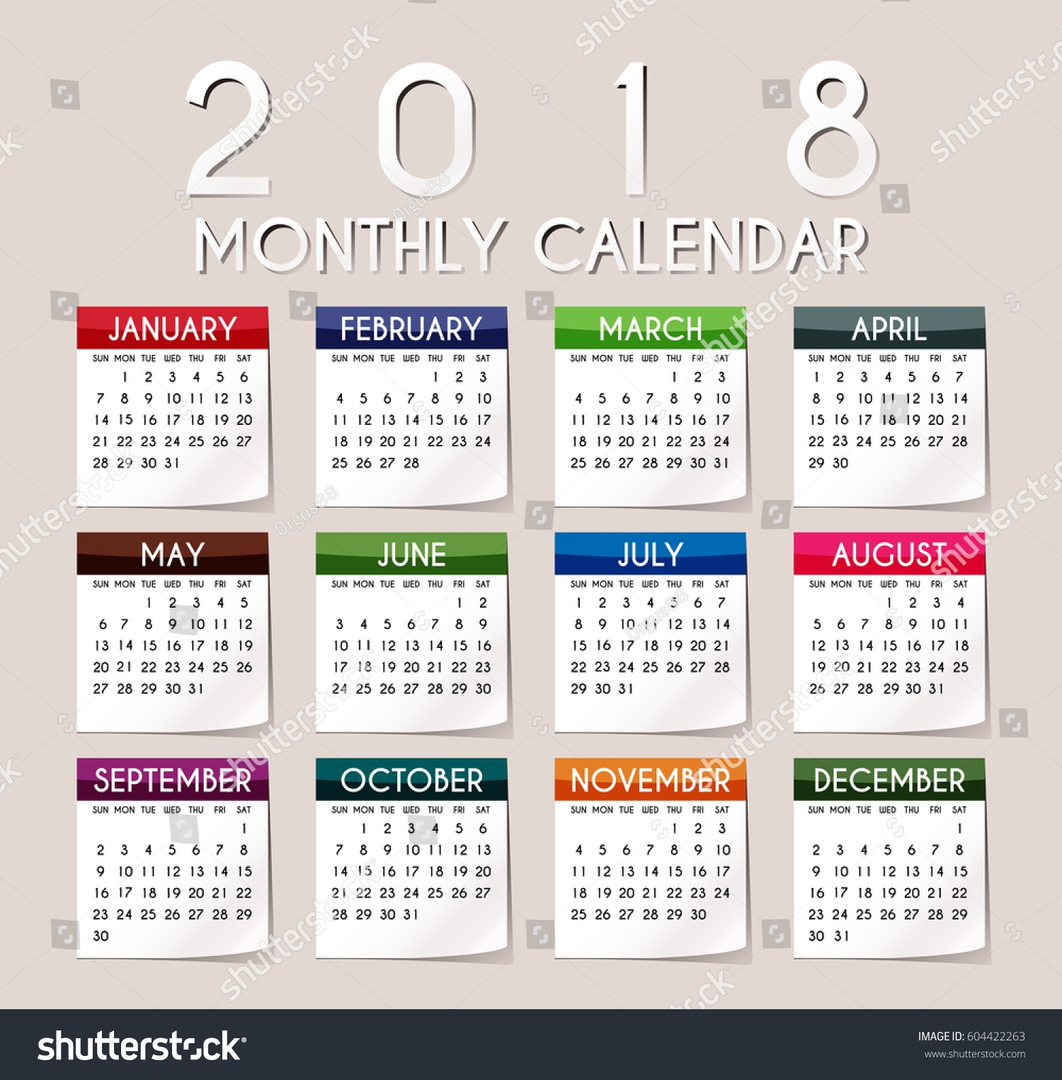 simple 2018 year vector calendar 2018 stock Calendar 2018 Design erdferdf