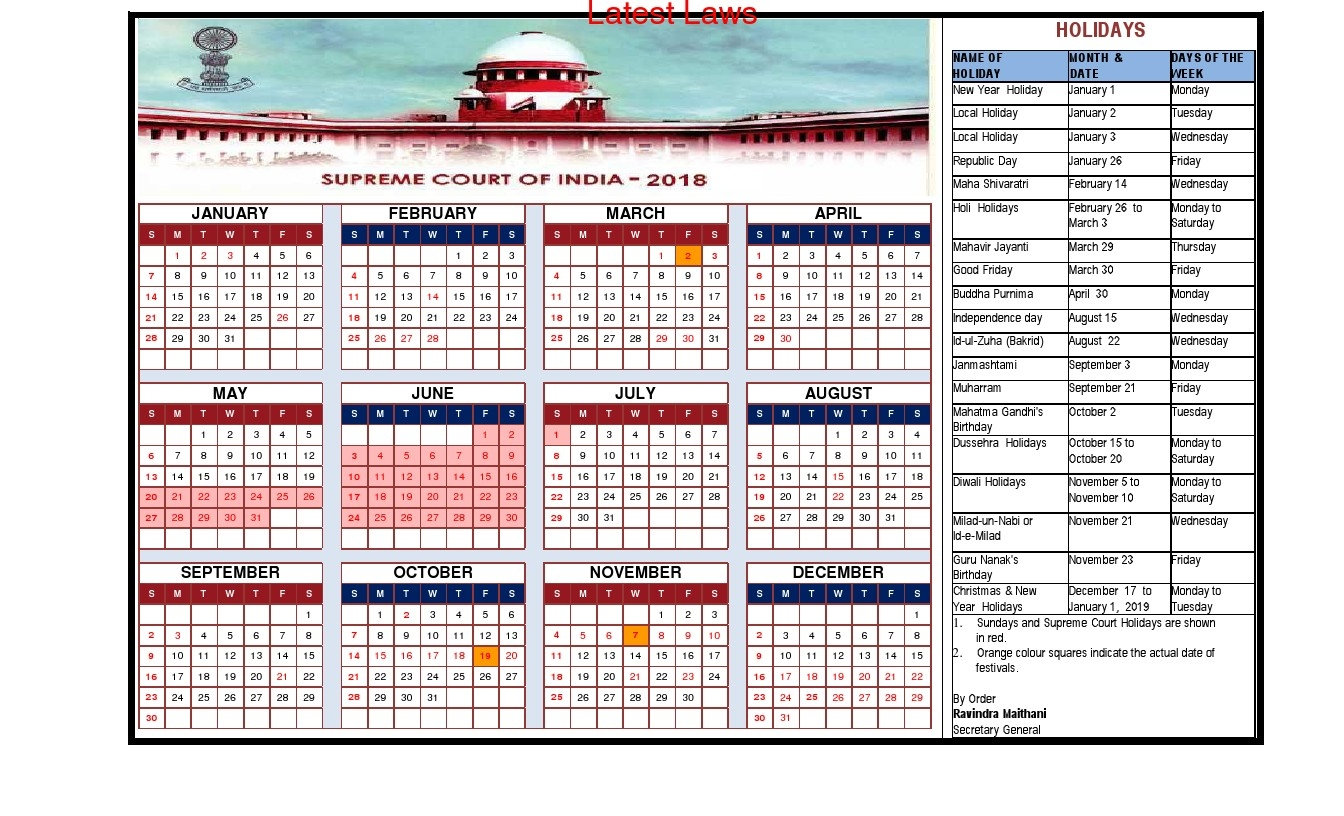 supreme court releases its 2018 calendar and list of holidays Government Calendar With Holidays 2018 erdferdf