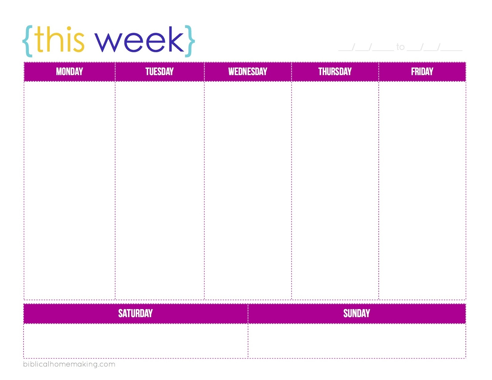 this week a free weekly planner printable biblical homemaking 7 Day Weekly Planner Template Printable erdferdf