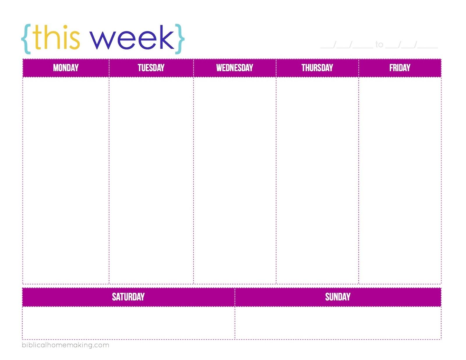 this week a free weekly planner printable biblical homemaking Cute Printable Daily Planner 2018 erdferdf