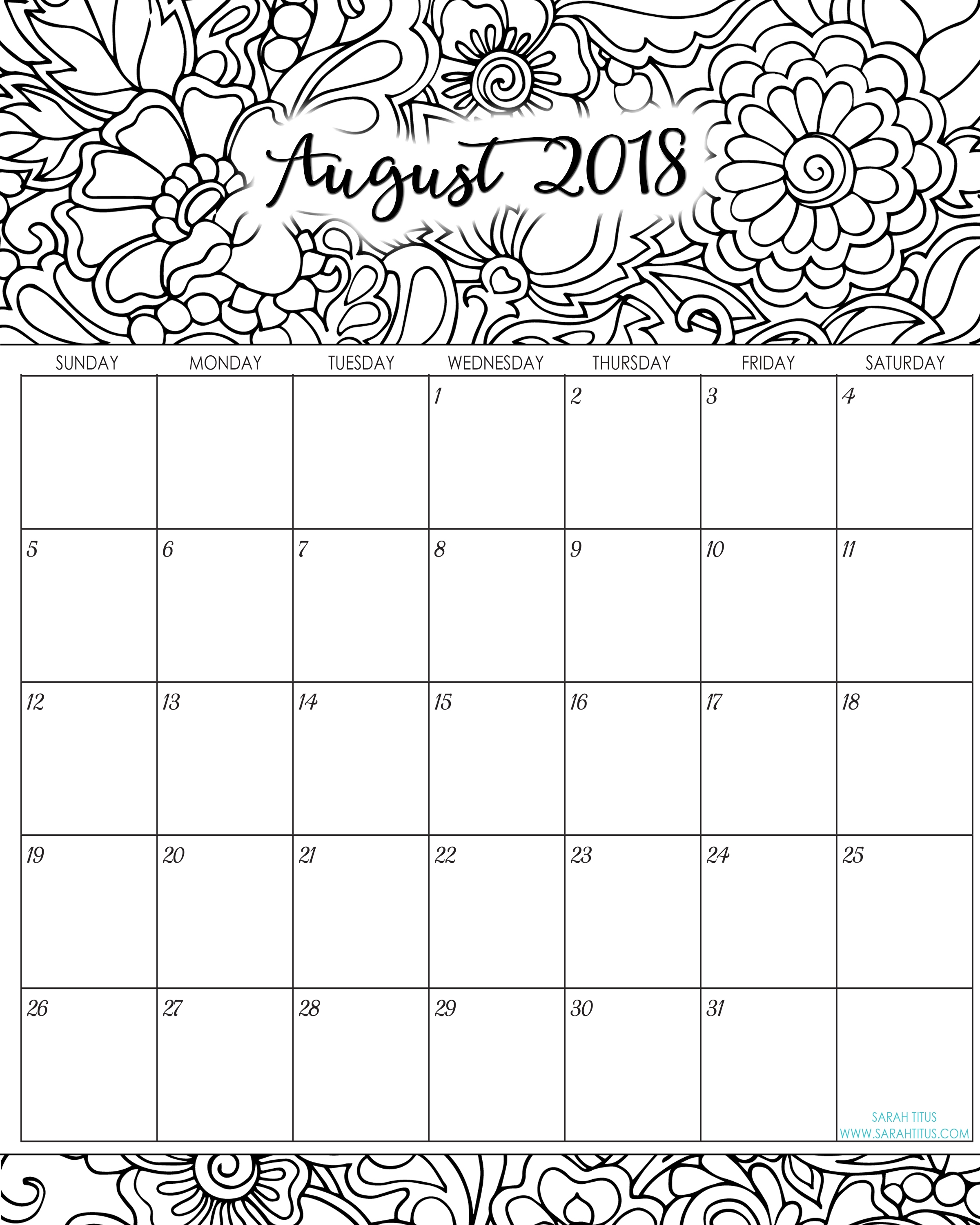 unique august 2018 calendar printable cute  Cute Printable Calendar For August 2018 erdferdf