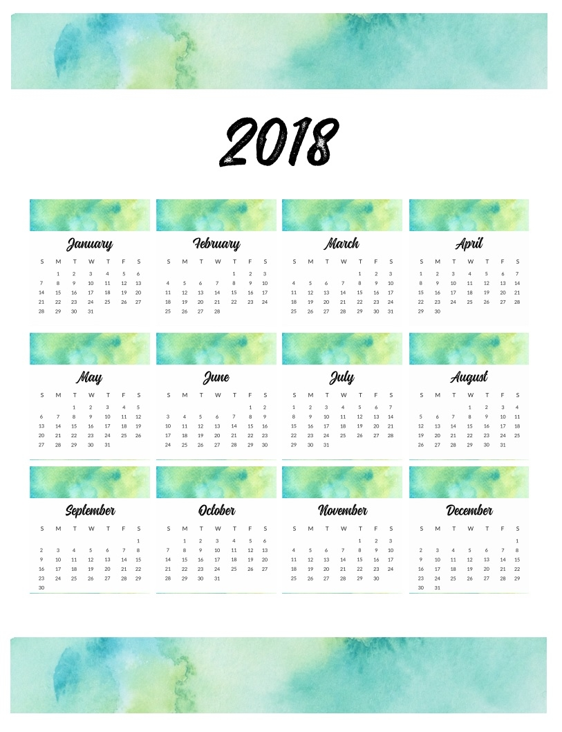 watercolor wall monthly calendar 2018 calendar 2018 2018 12 Month Calendar Image erdferdf