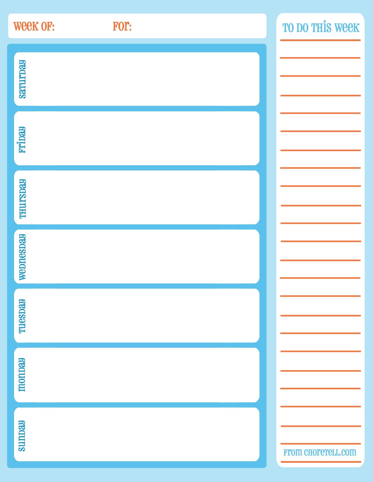 weekly calendar free print Free Printable Weekly Calendar Pdf  erdferdf
