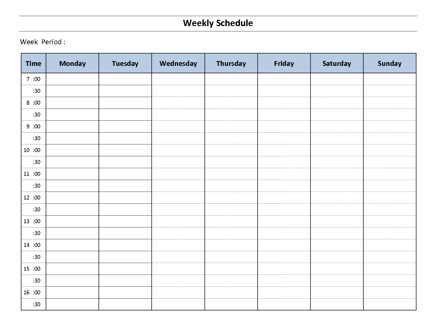 weekly hourly planner template Weekly Calendar With Time Slots Template erdferdf