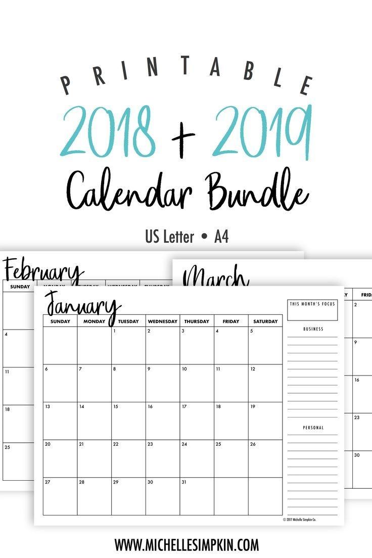 2018 2019 calendar monthly calendar Cute Free Monthly Printable Calendar 2018 erdferdf
