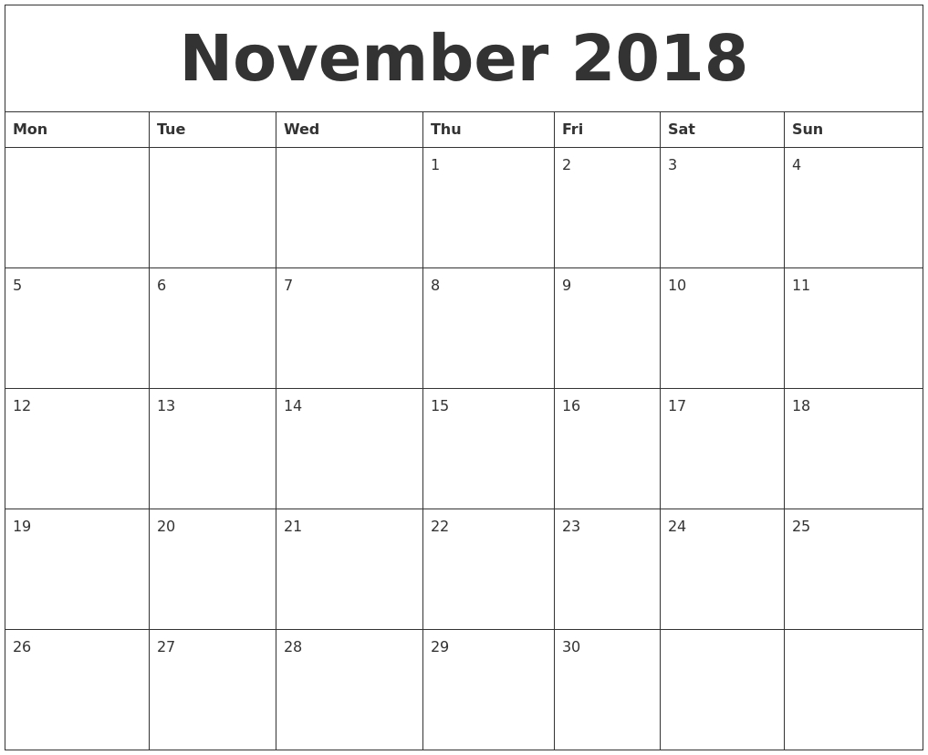 2018 april calendar printable template november 2018 calendar with::November 2018 Calendar USA