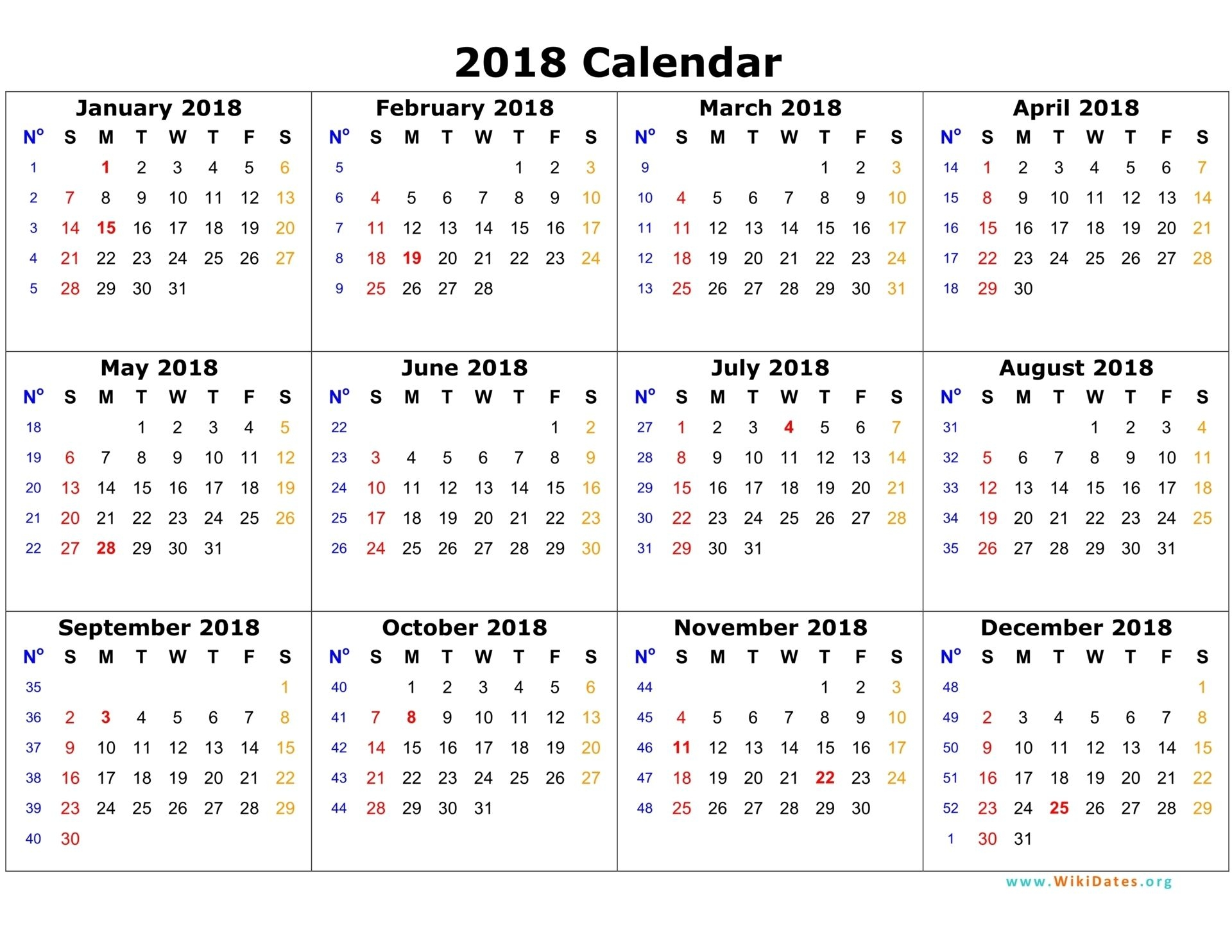 2018 calendar on one page calendar template 2016 planner stuff Download 12 Month Calendar Template 2018 erdferdf