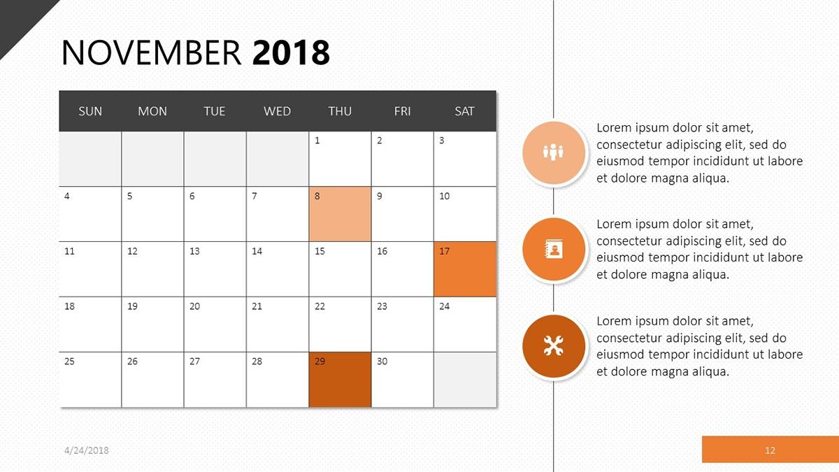 2018 calendar template free powerpoint template::November 2018 Calendar Template