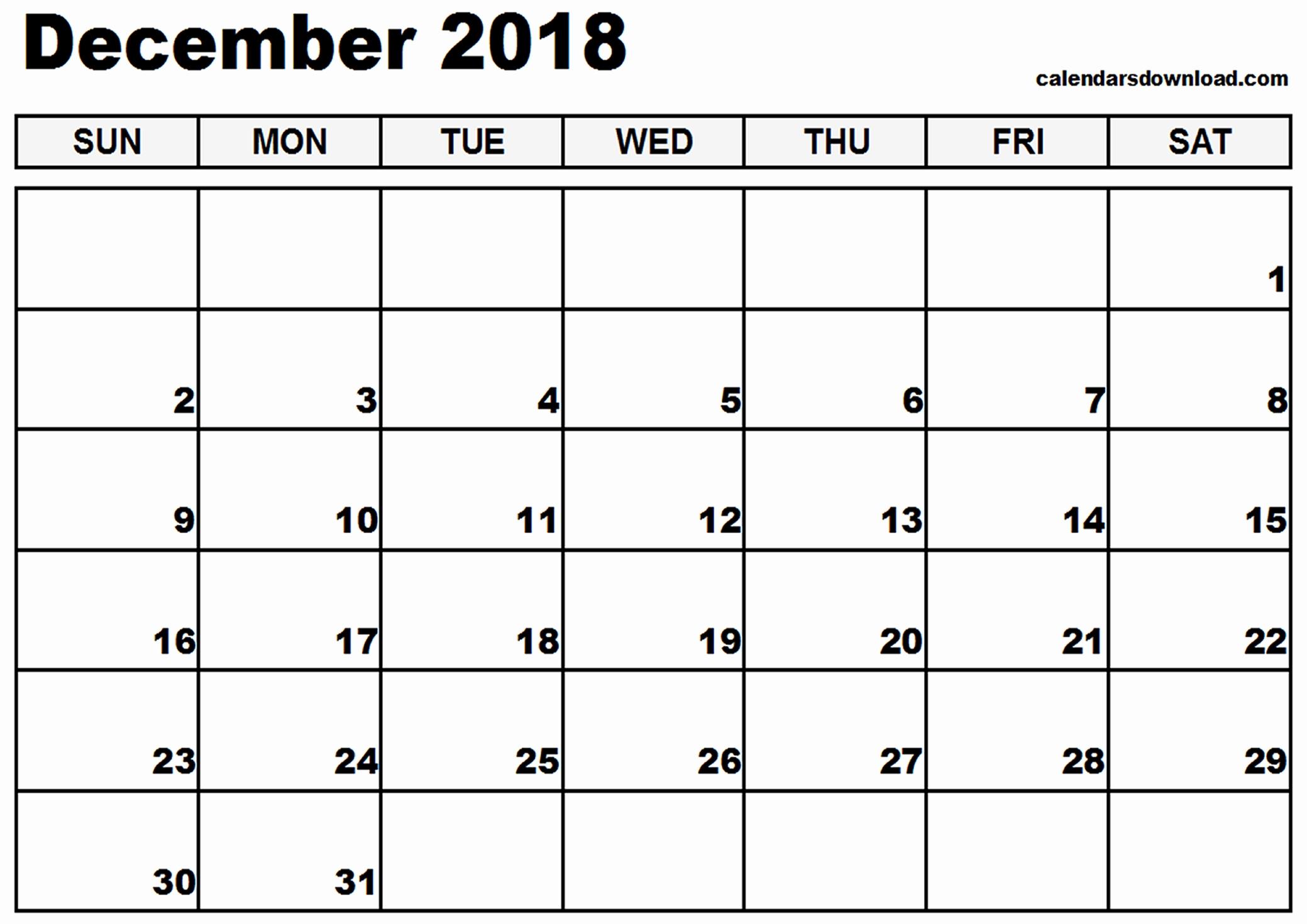2018 calendar template printable december 2018 printable calendar::December 2018 Calendar Printable Template