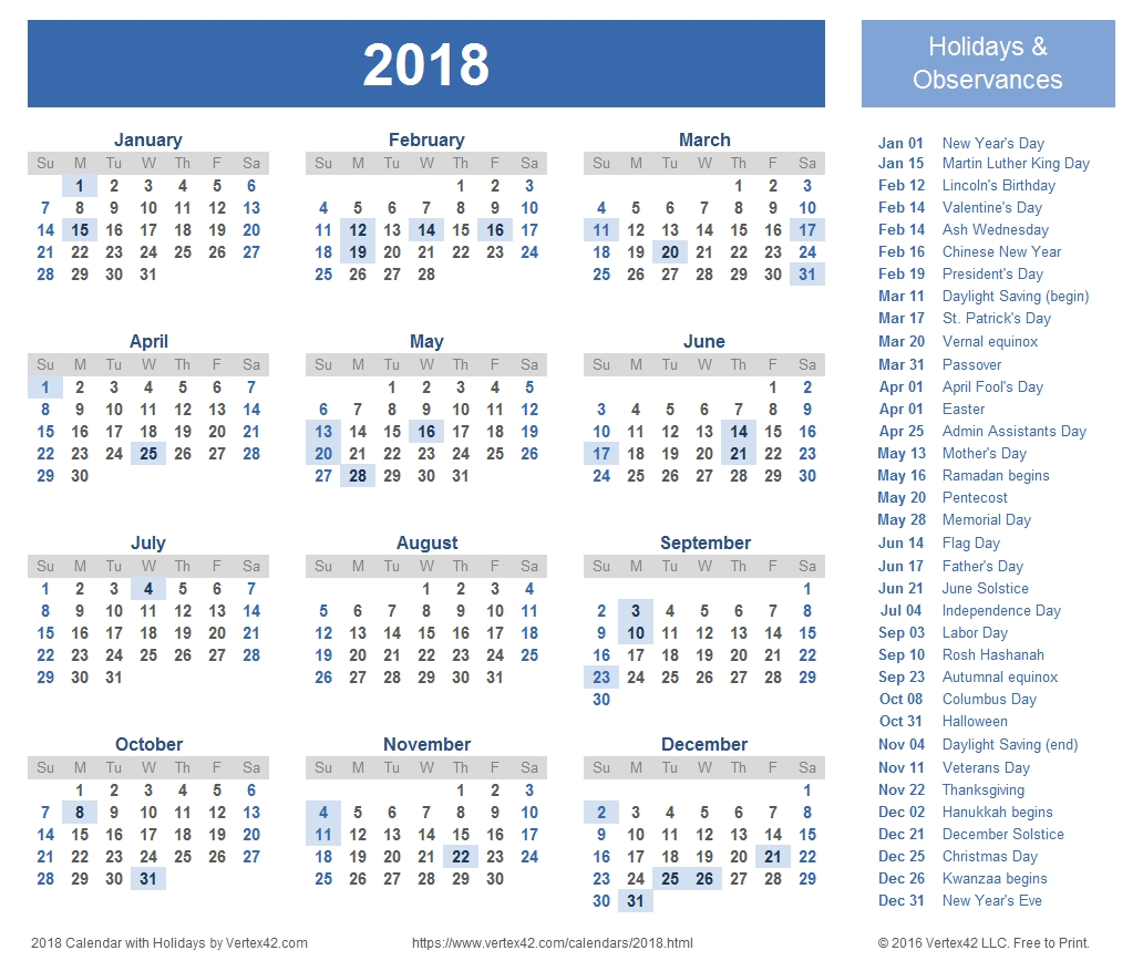 2018 calendar templates images and pdfs 2018 Printable Calendar Template erdferdf