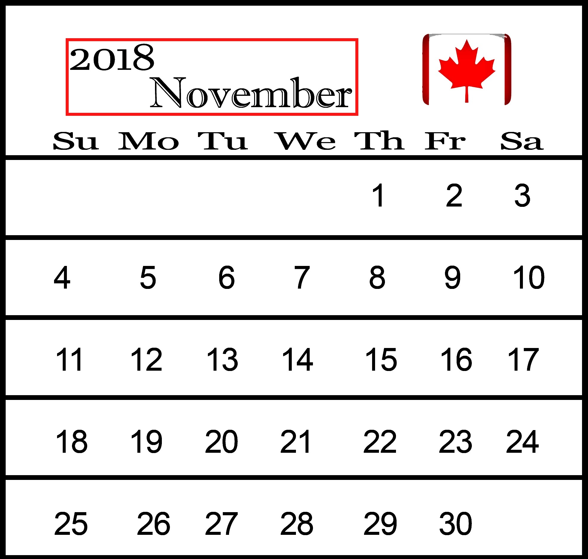 2018 calendar year canada calendar printable with holidays letter::November 2018 Calendar Canada