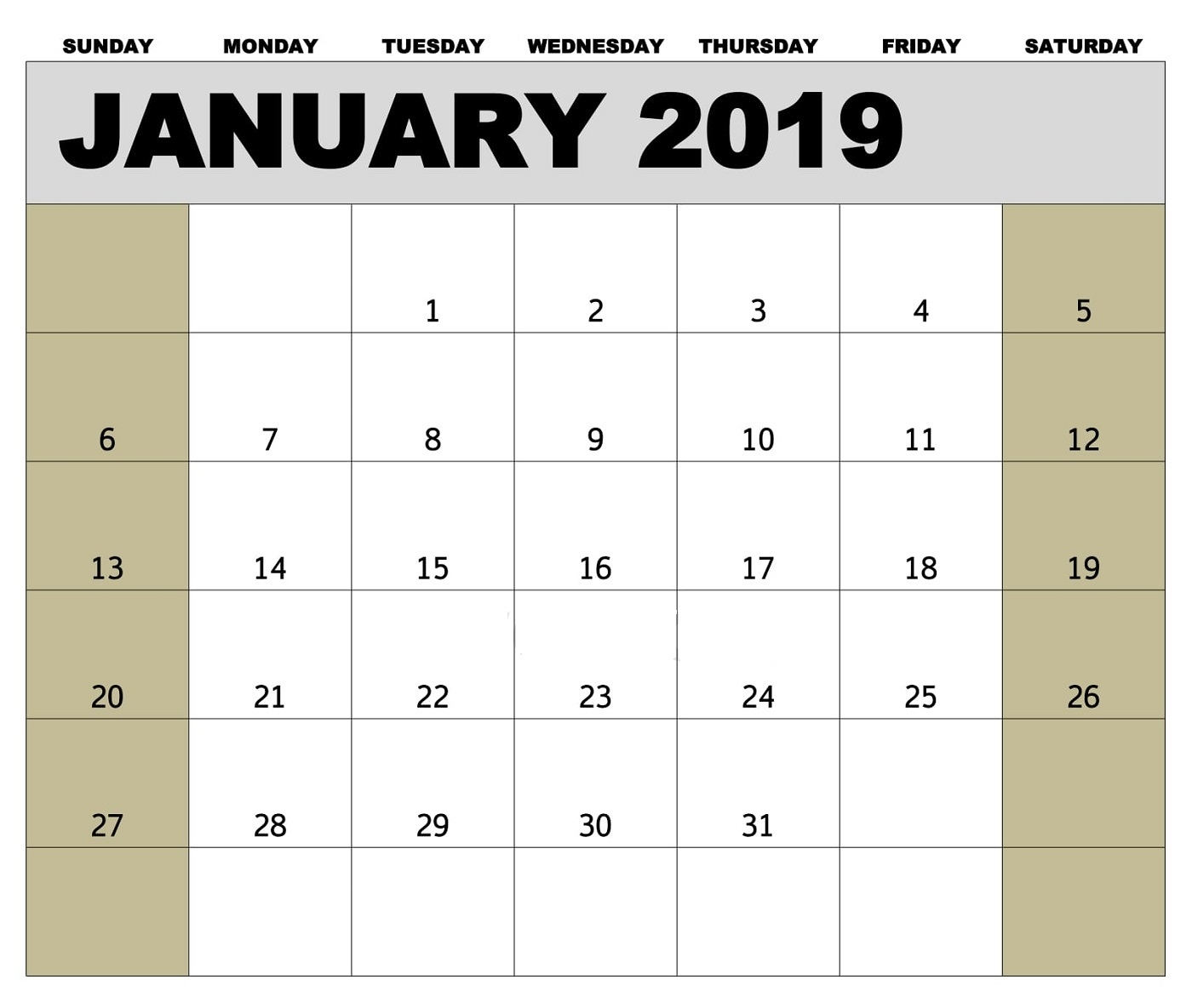 2019 calendar january canada printable blank archives picture::January 2019 Calendar with Holidays Printable