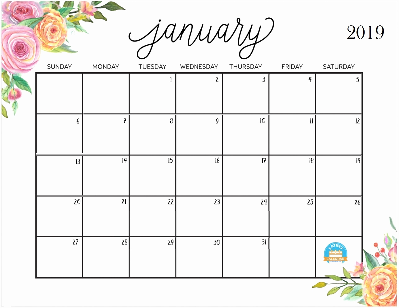 2019 calendar printable printable january 2019 calendar latest::January 2019 Calendar Printable Template